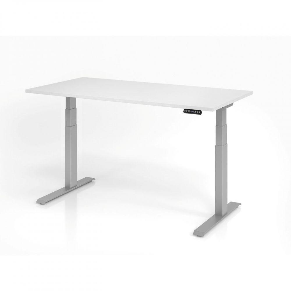 Bureau assis-debout contemporain Jorge / Blanc / Longueur 160 cm / Argenté