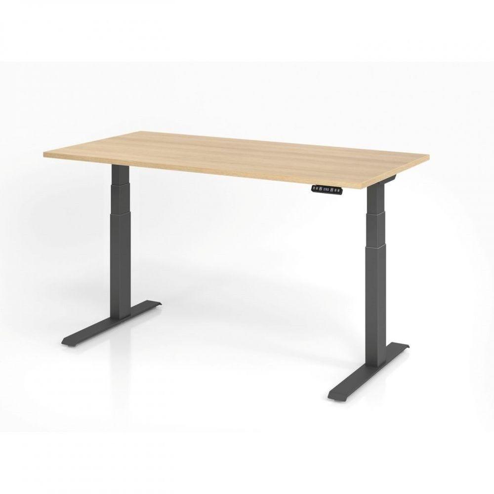 Bureau assis-debout contemporain Jorge / Chêne / Longueur 160 cm / Graphite