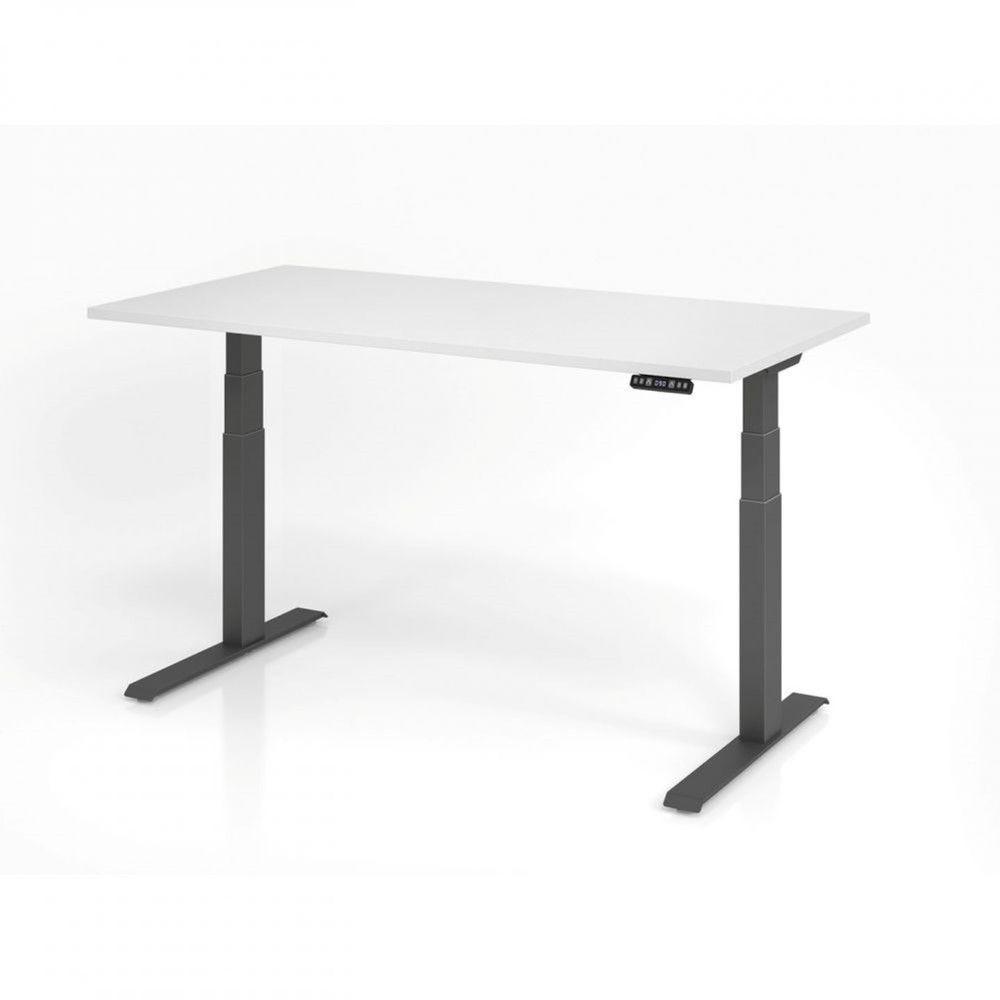 Bureau assis-debout contemporain Jorge / Blanc / Longueur 160 cm / Graphite