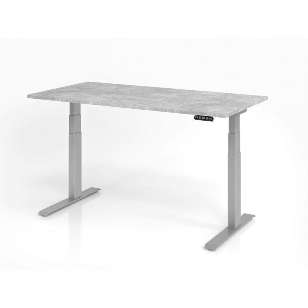 Bureau assis-debout contemporain Jorge / Béton / Longueur 160 cm / Argenté