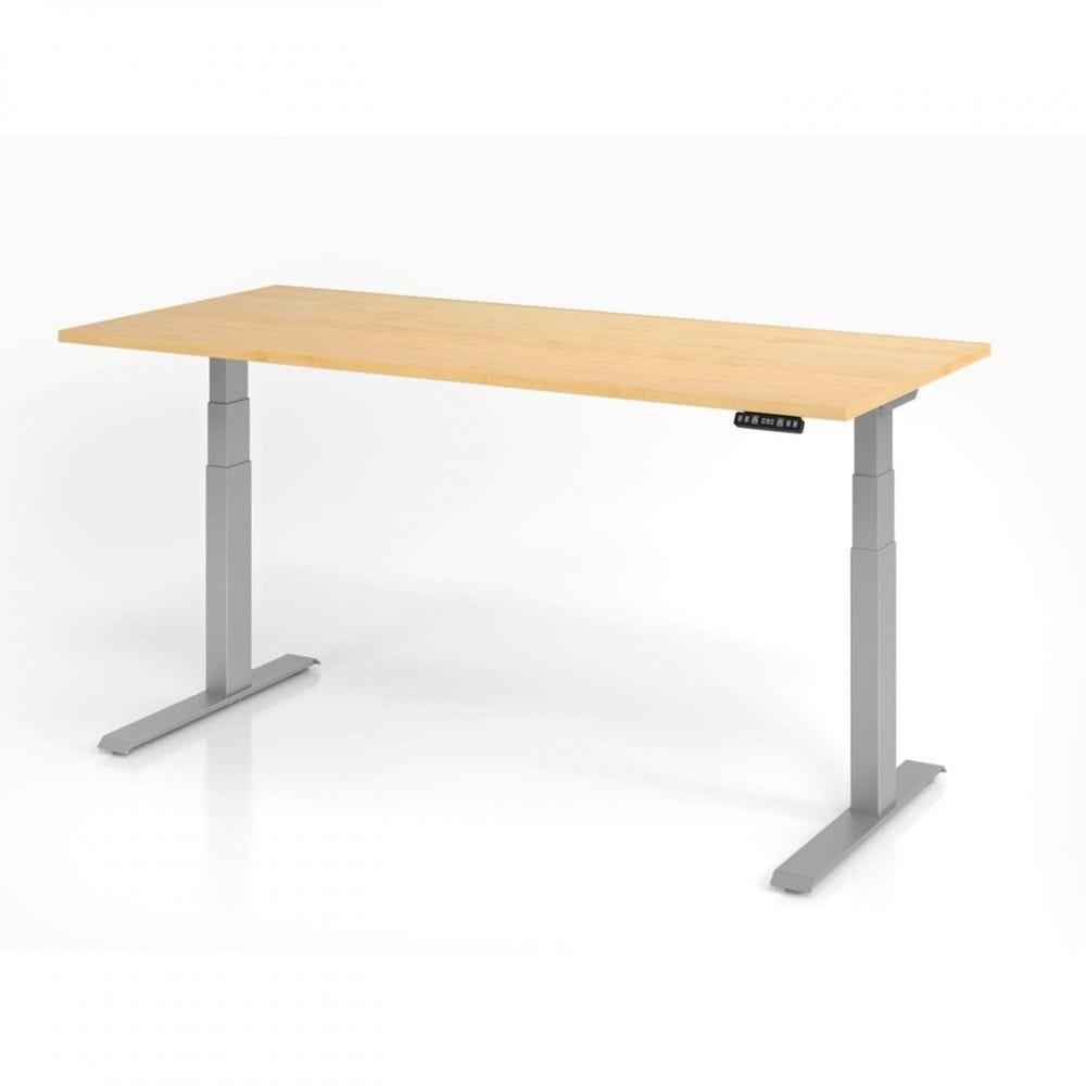 Bureau assis-debout contemporain Jorge / Erable / Longueur 180 cm / Argenté