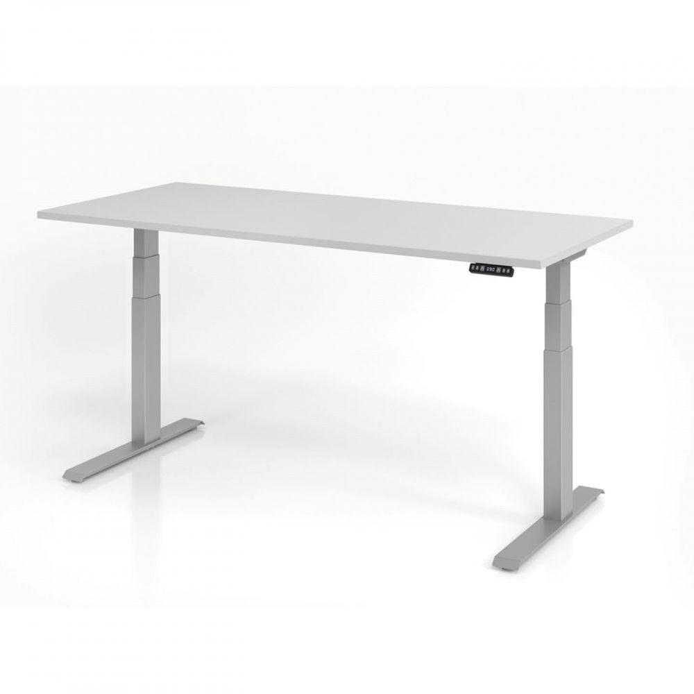 Bureau assis-debout contemporain Jorge / Gris / Longueur 180 cm / Argenté
