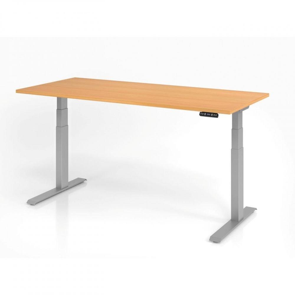 Bureau assis-debout contemporain Jorge / Hêtre / Longueur 180 cm / Argenté