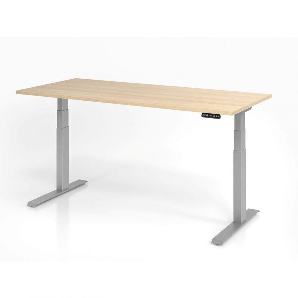 Bureau assis-debout contemporain Jorge / Chêne / Longueur 180 cm / Argenté