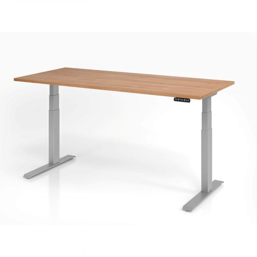 Bureau assis-debout contemporain Jorge / Noyer / Longueur 180 cm / Argenté