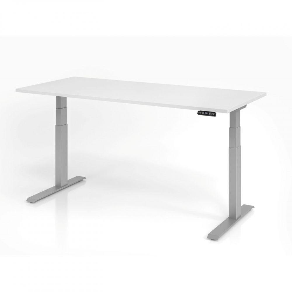 Bureau assis-debout contemporain Jorge / Blanc / Longueur 180 cm / Argenté