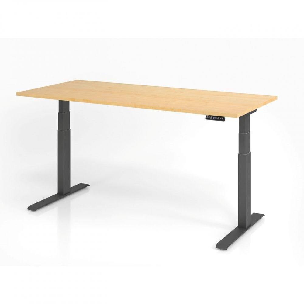 Bureau assis-debout contemporain Jorge / Erable / Longueur 180 cm / Graphite