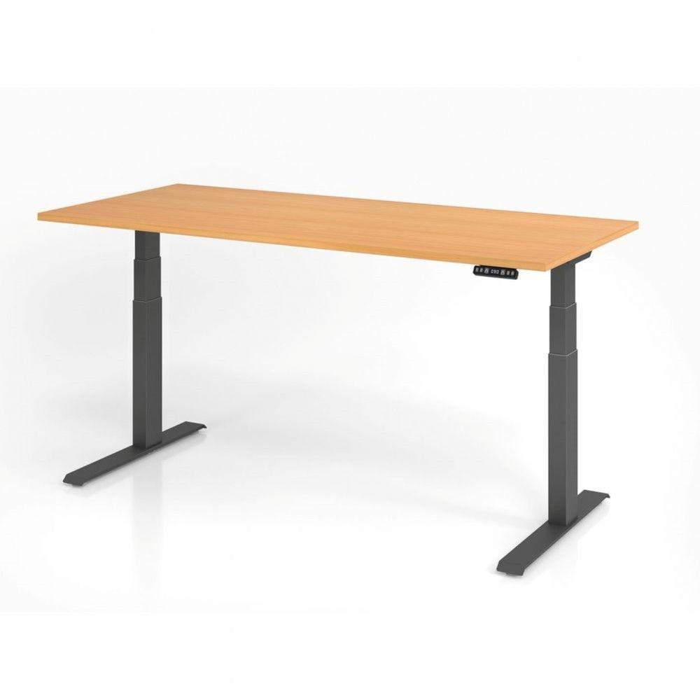 Bureau assis-debout contemporain Jorge / Hêtre / Longueur 180 cm / Graphite