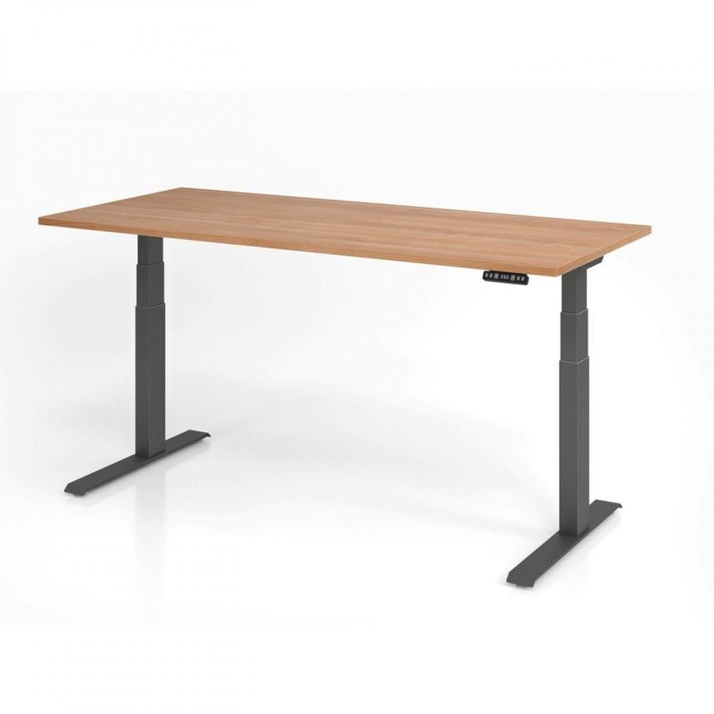 Bureau assis-debout contemporain Jorge / Noyer / Longueur 180 cm / Graphite