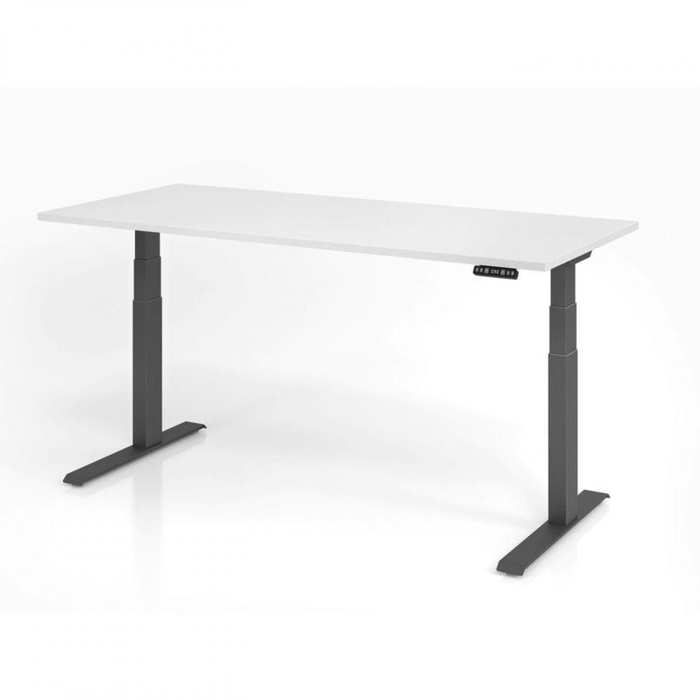 Bureau assis-debout contemporain Jorge / Blanc / Longueur 180 cm / Graphite