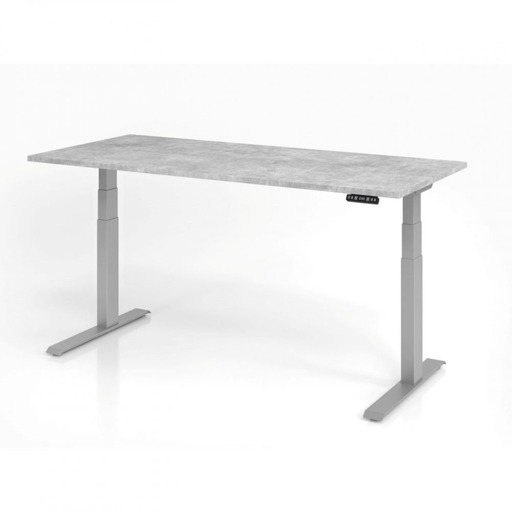 Bureau assis-debout contemporain Jorge / Béton / Longueur 180 cm / Argenté