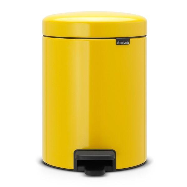 Poubelle à pédale newicone 5l jaune paquerette