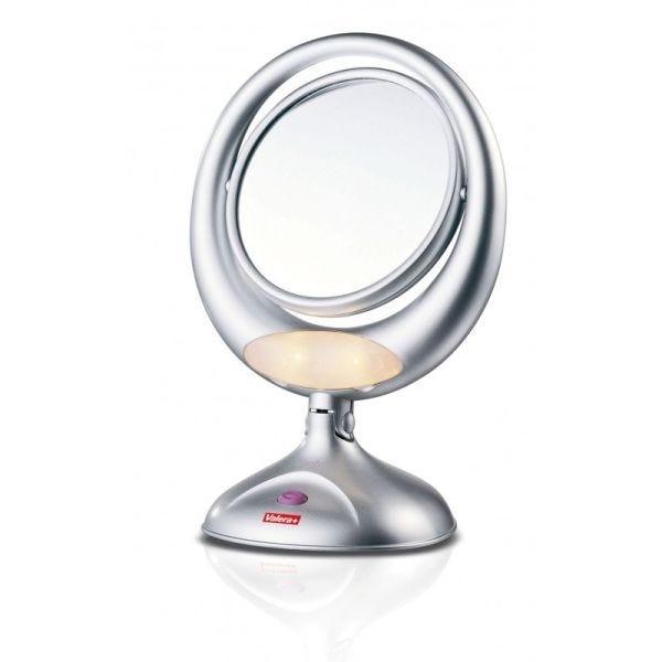 Miroir chromé tournant double (miroir + miroir grossissant 3x) avec éclariage