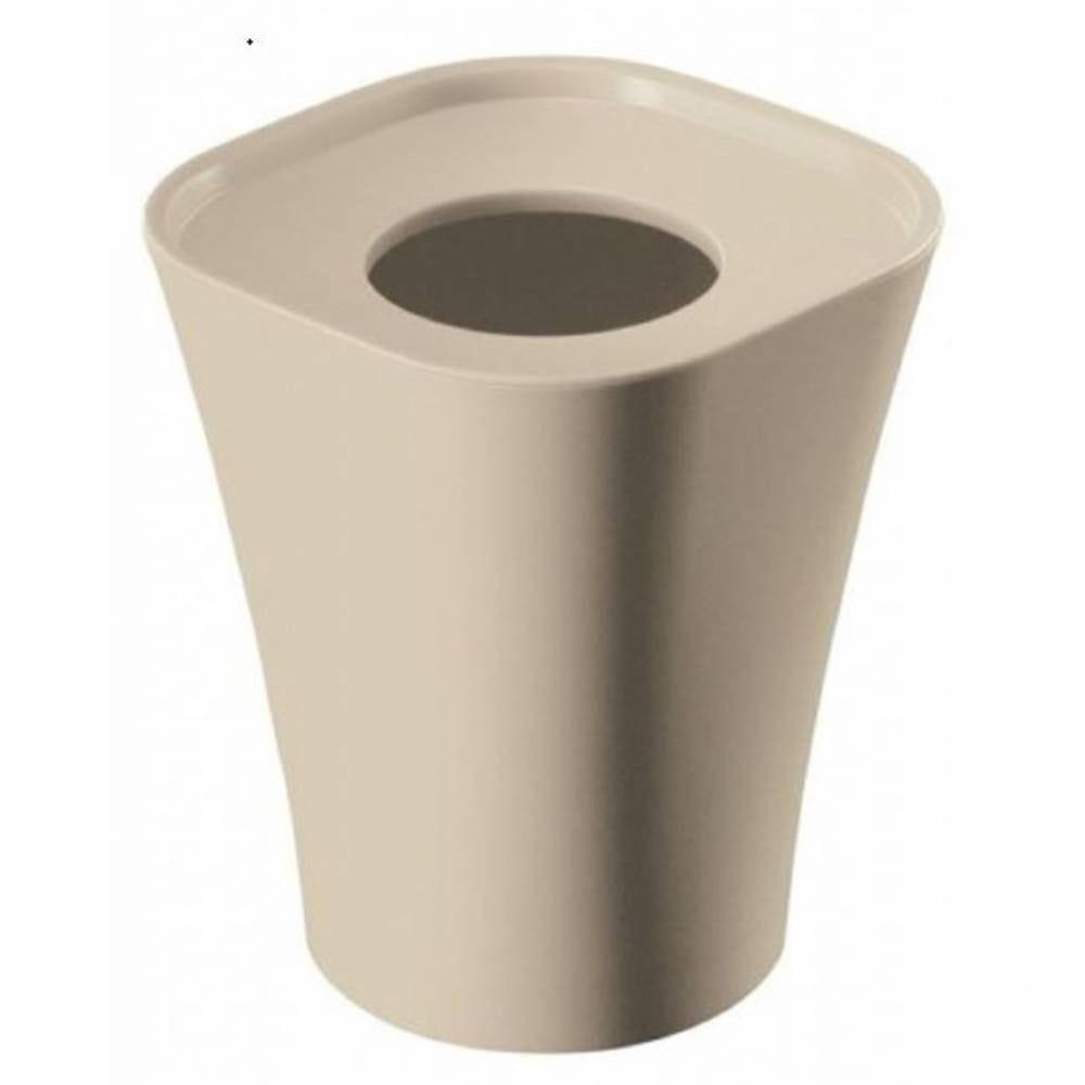Corbeille support sac poubelle 15l beige - hauteur 36 cm
