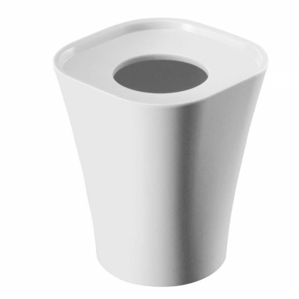 Corbeille support sac poubelle 15l blanc - hauteur 36 cm