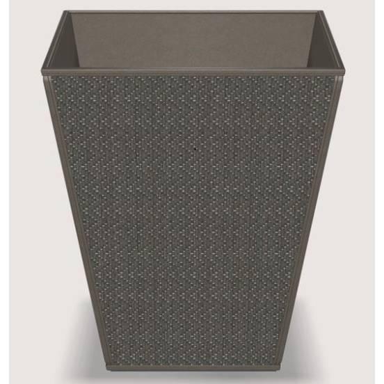 Corbeille pyramide chevron mendong - dim h30 x l25 x l25 cm - gris