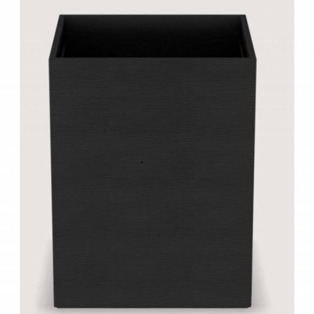 Corbeille cube wave leatherette - dim h27 x l20 x l20 cm - noir