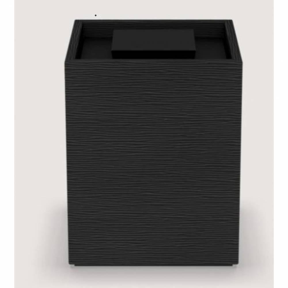 Boite cube wave leatherette dim h11,5 x l9 x l9 cm - noir