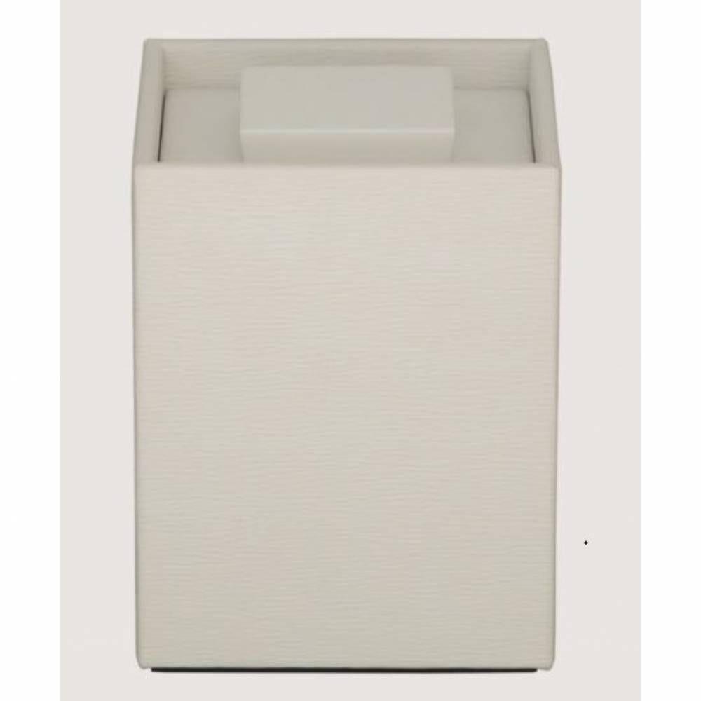 Boite cube wave leatherette - dim h13 x l9 x l9 cm - blanc