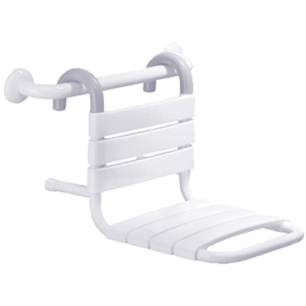 Siège de douche suspendu sur barre d'appui blanc