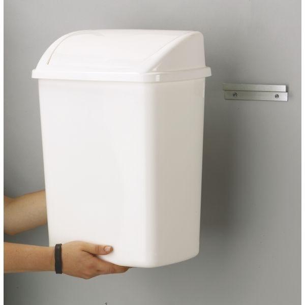 Support fixation murale pour poubelle basic - dim l 15 x l 1 x h 3,5 cm
