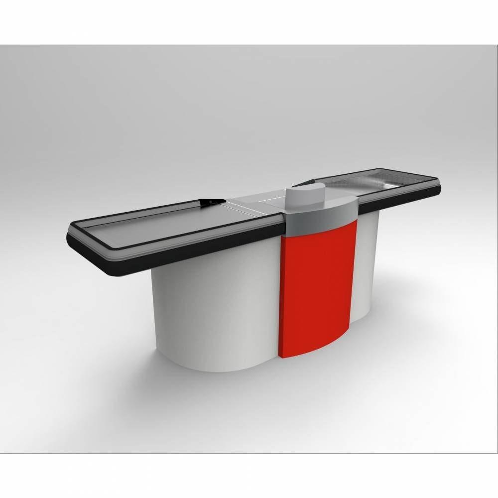 Meuble de caisse PMR gris clair/rouge sens Droit L=2 m