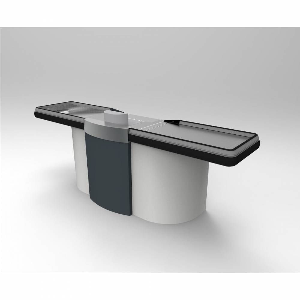 Meuble de caisse gris clair/gris foncé sens Gauche L=2 m
