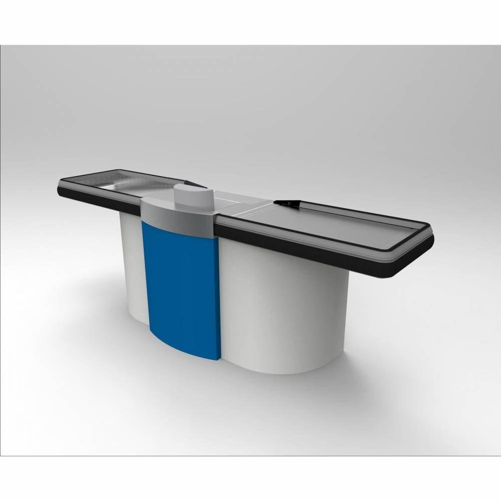 Meuble de caisse gris clair/bleu sens Gauche L=2 m