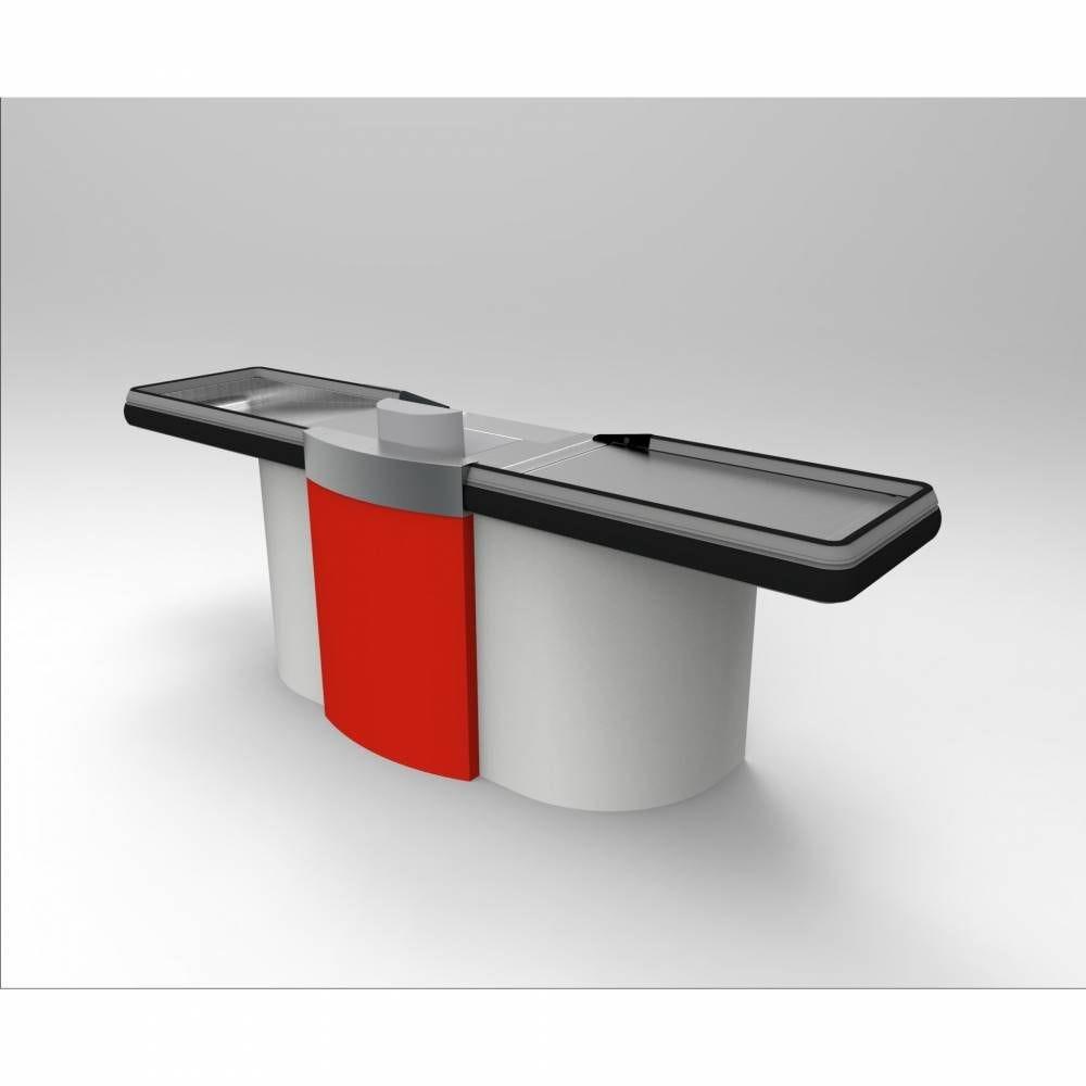 Meuble de caisse PMR gris clair/rouge sens Gauche L=2 m
