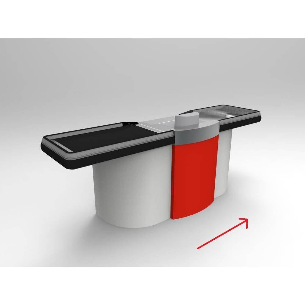 Meuble caisse tapis roulant gris clair/rouge sens Droit L=2,62 m