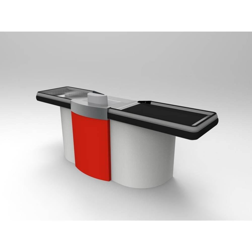 Meuble caisse tapis roulant gris clair/rouge sens Gauche L=2,62 m