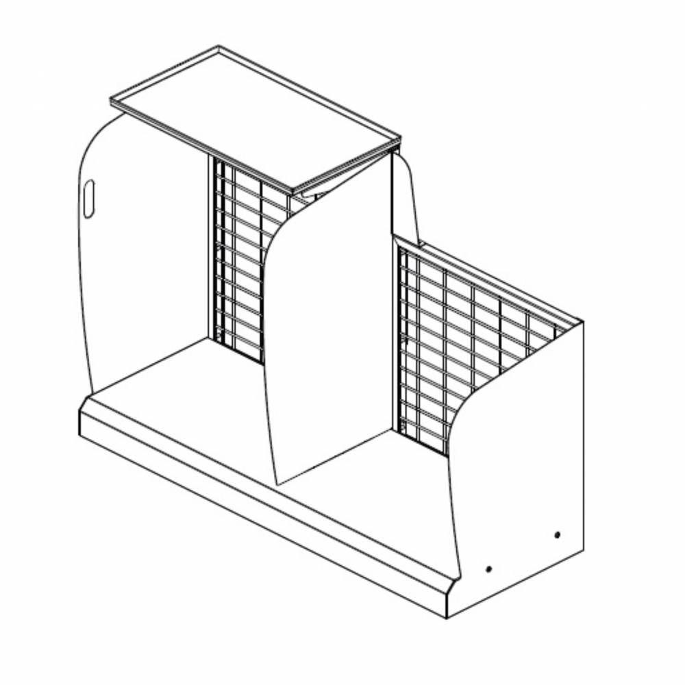 Meuble devant de caisse fond grille gris clair sens droit