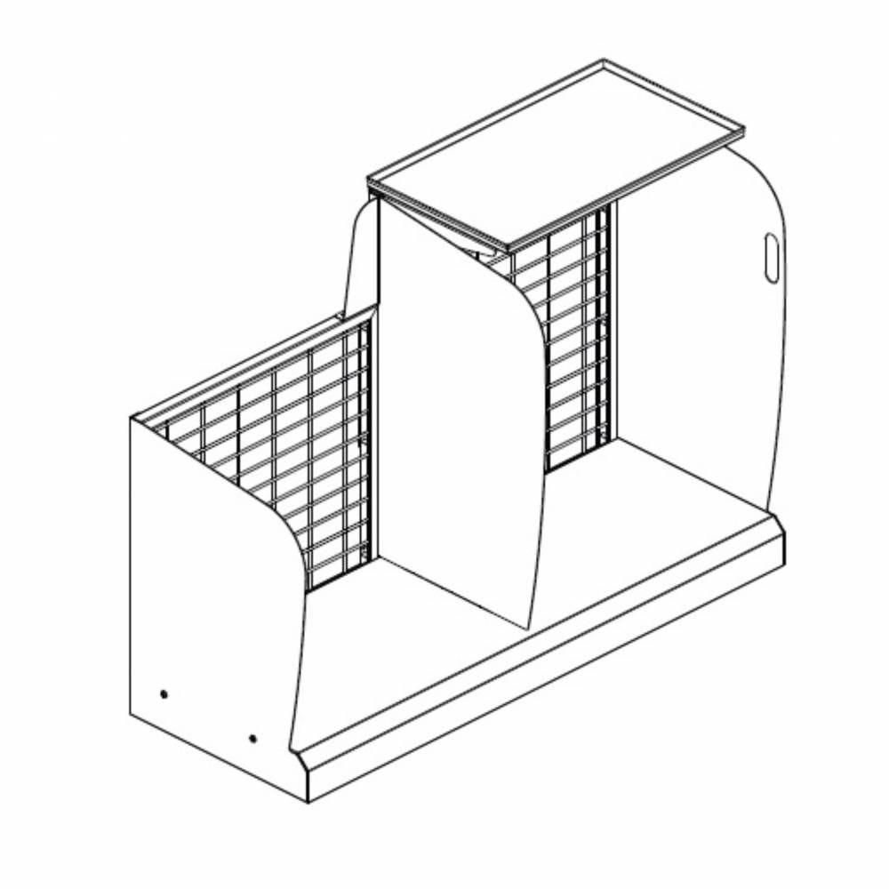 Meuble devant de caisse fond grille gris foncé sens gauche