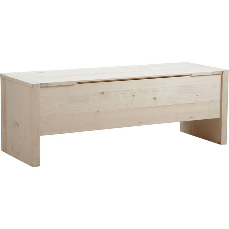 Banc coffre en bois brut 117,5x42x41.5 cm
