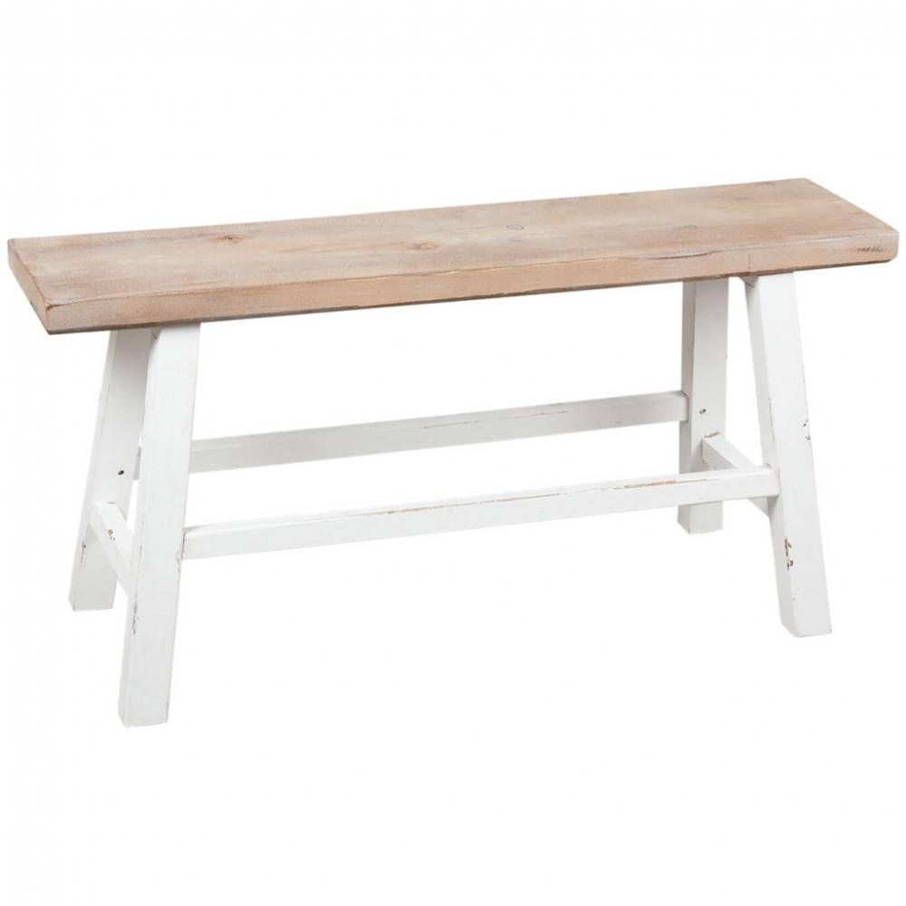 Banc étroit en bois naturel et blanc. 92x32x45,5