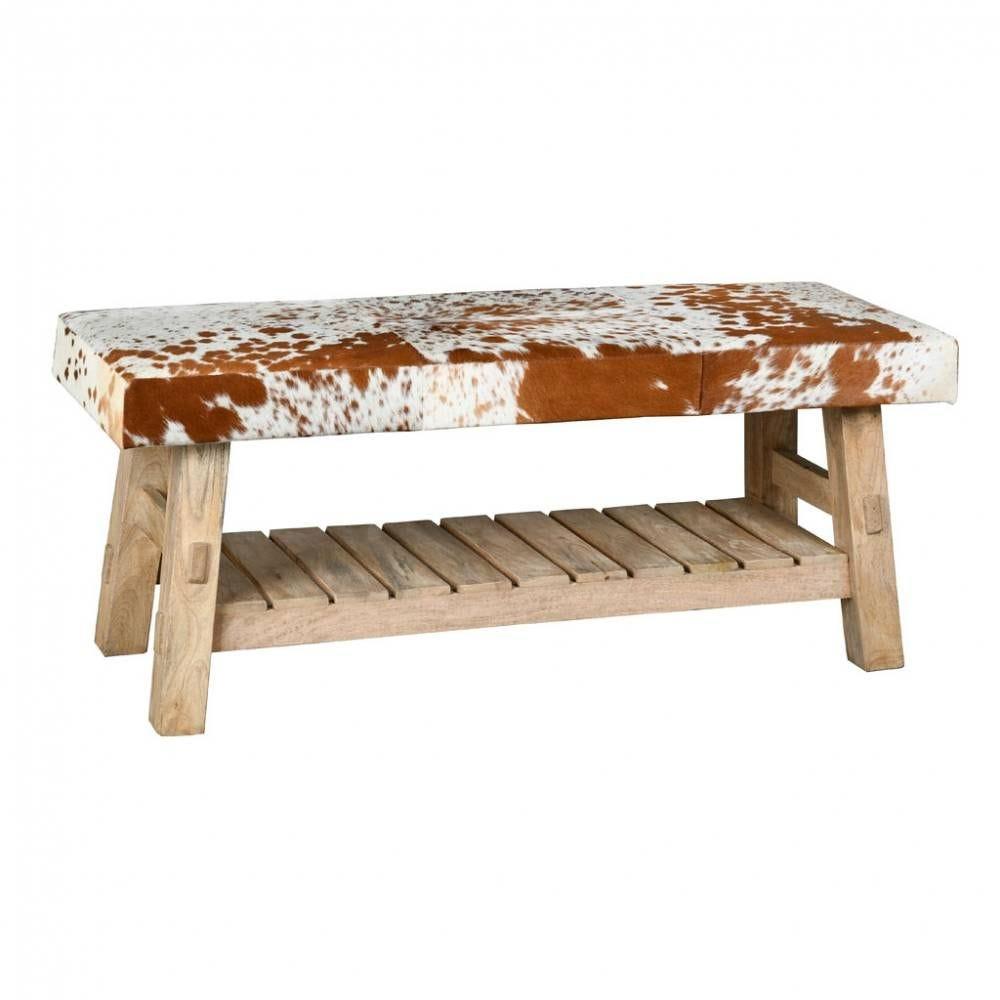 Banc avec étagère en bois recyclé et peau de vache 110x40x46 Ep.9