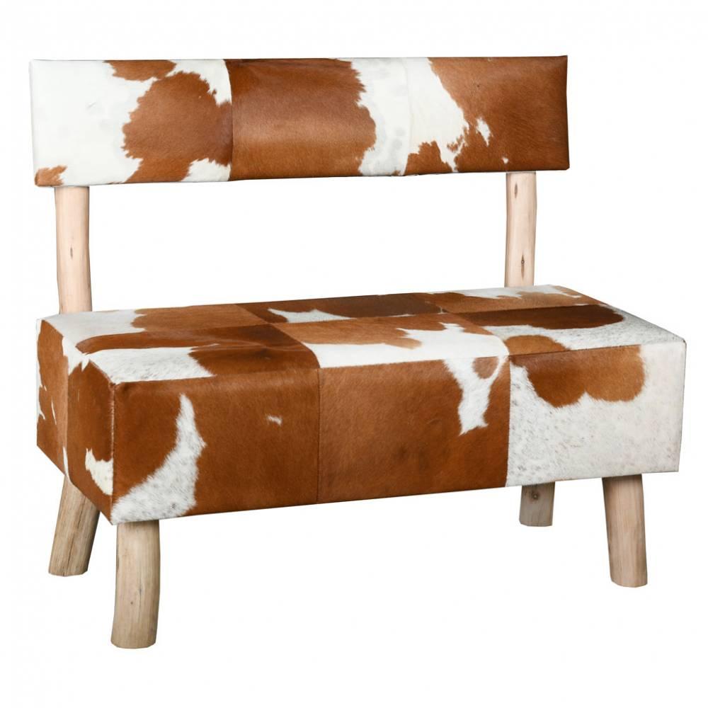 Banc avec dossier en peau de vache et eucalyptus 100x55x85