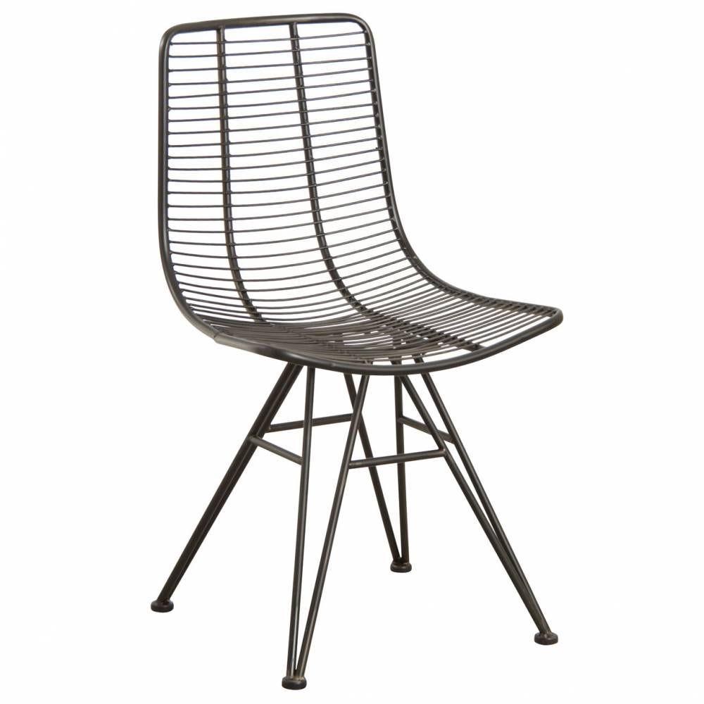 Chaise en métal noir antique 50x57x86 H siège 47