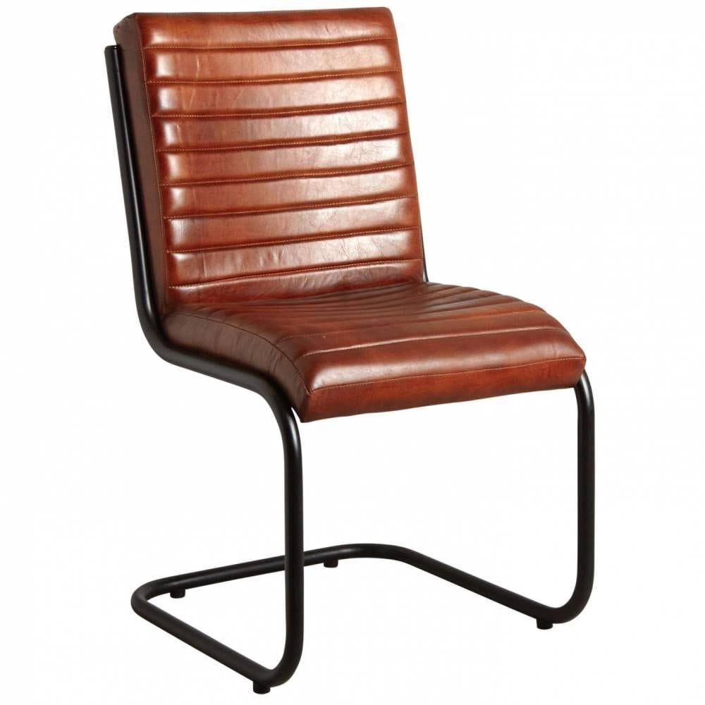 Chaise en cuir et métal 50x60x90 H siège 48