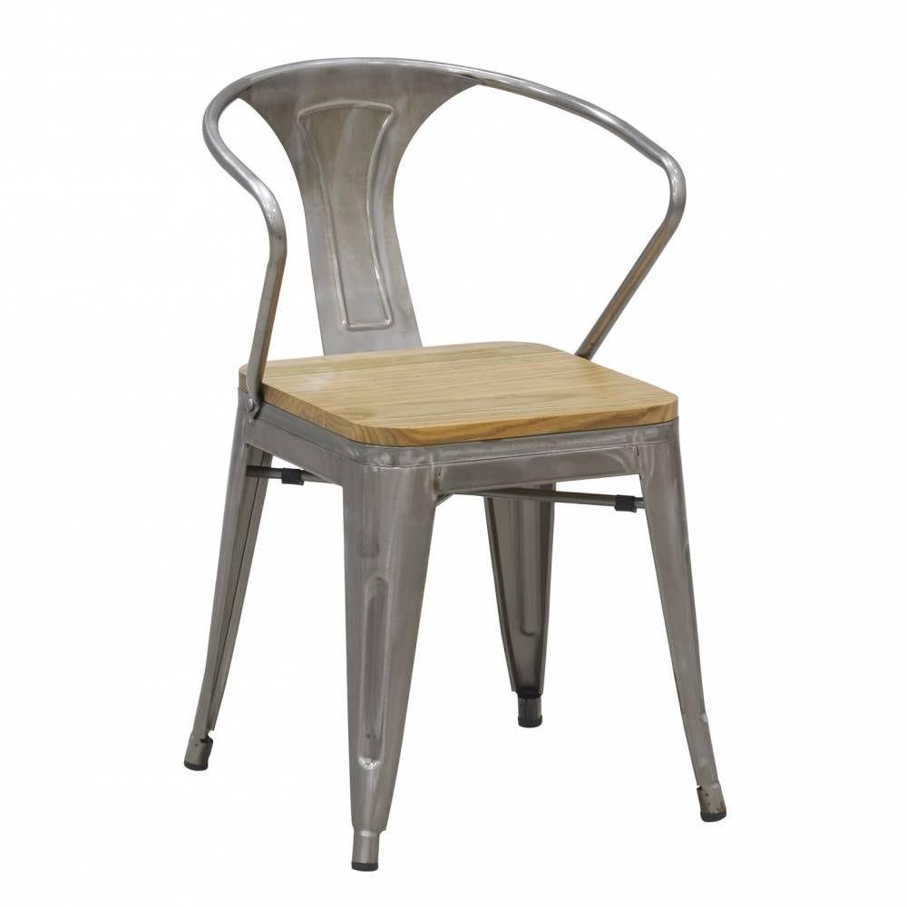 Chaise en acier brossé 46x55x78 H siège 46