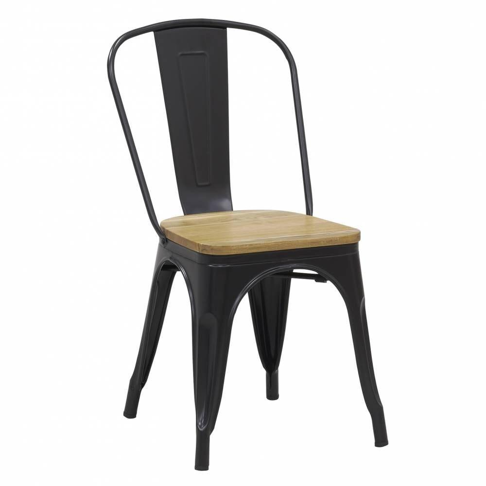Chaise industrielle en métal noir et bois d'orme huilé 56x44x85 H siège 45