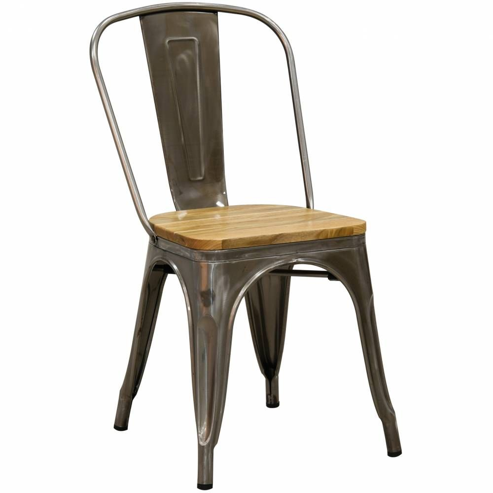 Chaise en acier brossé et bois d'orme huilé 56x44x85 H siège 45
