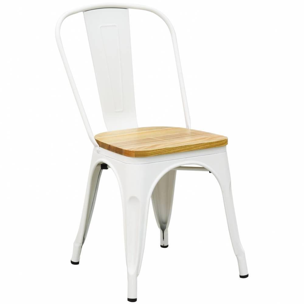 Chaise industrielle en métal blanc et bois d'orme huilé 56x44x85 H siège 45