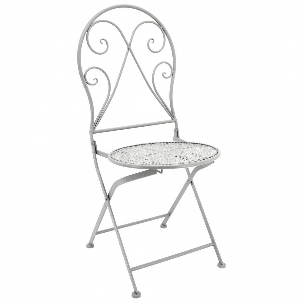 Chaise pliante en métal forgé Ø40H94