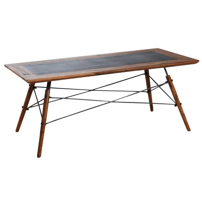 Table basse Alice en bois de suar massif et métal 110x50x45