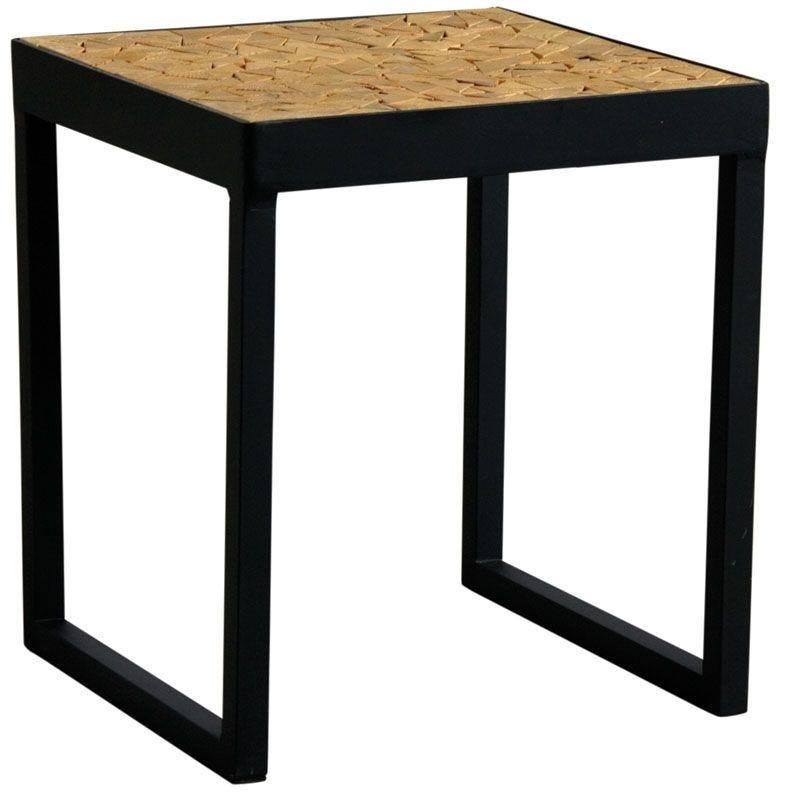 Table carrée en métal et bois  40x40x45