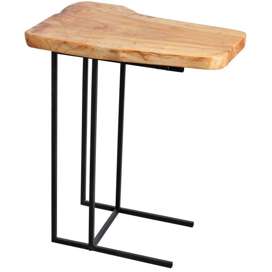 Table d'appoint en bois brut et métal  50x35x59 Ep.4