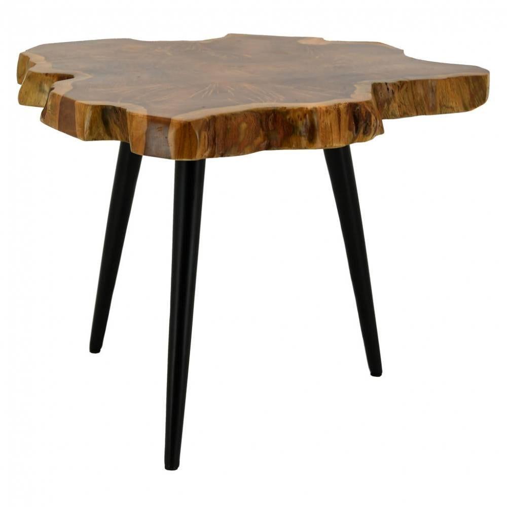 Table d'appoint en teck naturel et métal  55x60x45 Ep.4