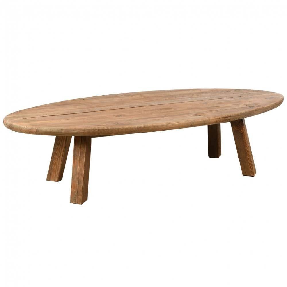 Table basse ovale en pin recyclé 140x60x36
