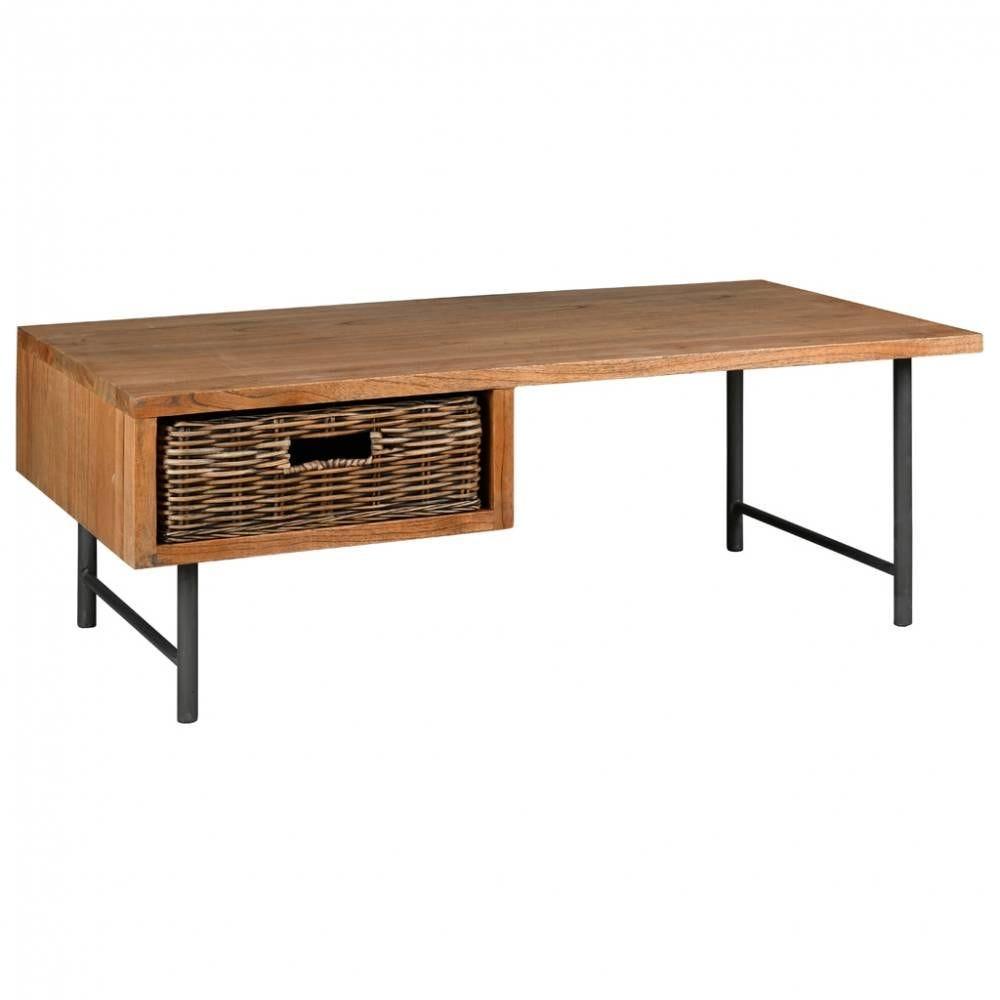 Table basse en bois mindi, métal et rotin 115x65x43